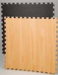 Reversible Mat - black / wood pattern #9001008 -